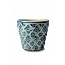 "Кашпо ""Glossy light blue - blue flowers"""